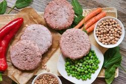Veggie burger patties or plant based meat