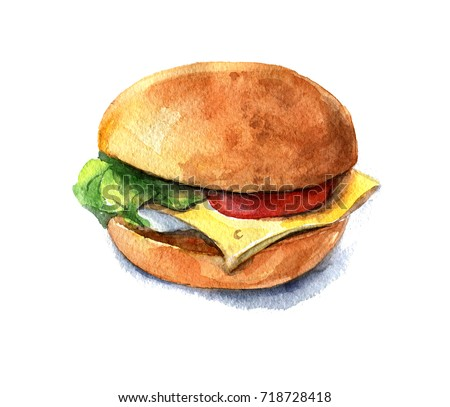 Veggie Burger with cheese, tomato and lettuce. Watercolor illustration isolated on white background.