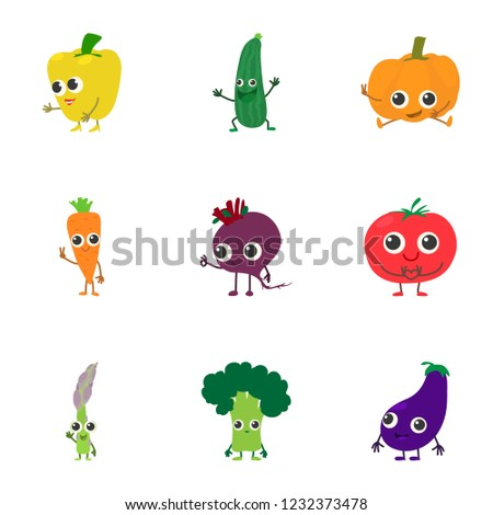 Veggie icons set. Cartoon set of 9 veggie icons for web isolated on white background #1232373478