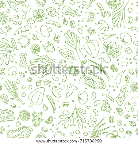 Veggie seamless pattern with vegetables. Food background