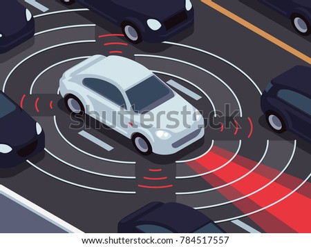 Vehicle autonomous driving technology. Car assistant and traffic monitoring system concept. Technology traffic vehicle, self-driving sensor for safety illustration