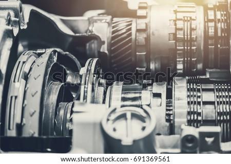 vehicle car gear rotary clutch close-up inside engine #691369561