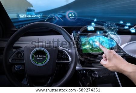 vehicle cockpit and screen, car electronics, automotive technology, autonomous car, abstract image visual