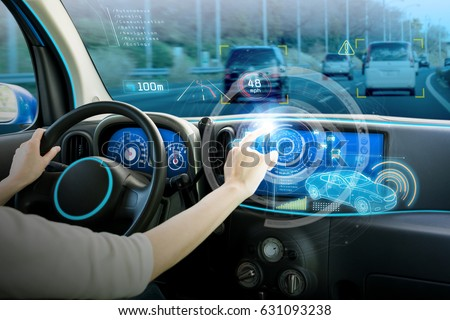 vehicle cockpit and screen, car electronics, automotive technology, autonomous car, abstract image visual #631093238