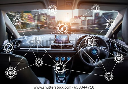 Vehicle cockpit and screen, car electronics,Smart car (HUD) and augmented reality navigation technology concept.Self driving vehicle hands free driving. #658344718