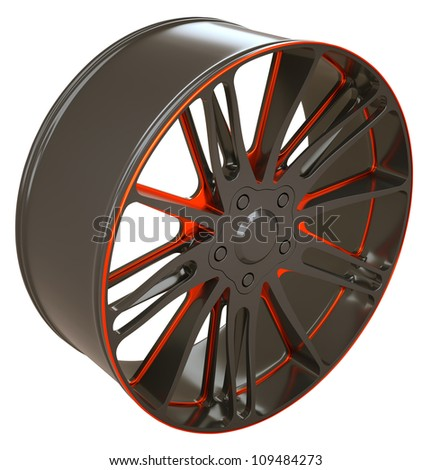 Vehicle disc or wheel isolated over white (custom rendered)
