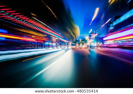 Vehicle light trails in city at night #480535414