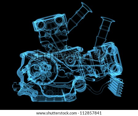 Vehicle motor 3D xray blue transparent