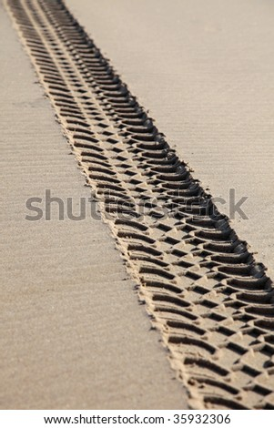 Vehicle tracks on a beach damaging the environment