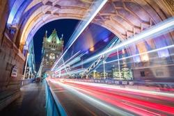 Vehicles moving across Tower bridge london