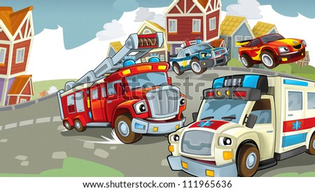 stock photo vehicles on the road illustration for the children 111965636 - Каталог — Фотообои «Для детской»