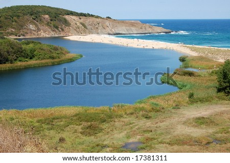 Veleka river flowing into Black Sea near Sinemorec, Bulgaria