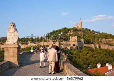 VELIKO TURNOVO, BULGARIA - AUGUST 23: Tourists visit the Tsarevets Fortress in Veliko Turnovo, the medieval capital of Bulgaria, on August 23, 2009.