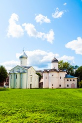Veliky Novgorod, Russia. Churches of St Procopius and Wives the Myrrh bearers at the Yaroslav's Courtyard in summer day