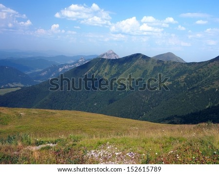 Velky Rozsutec mountain peak (alt. 1,609 meters) as seen from top of Chleb mountain peak (alt. 1,645 meters) located in north part Mala Fatra mountain range in the Zilina Region, northern Slovakia.