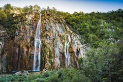 Velky Slap, the biggest waterfall in the Plitvice Lakes National Park  which is a UNESCO World Heritage site.