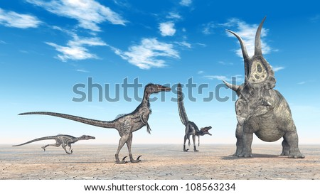 Velociraptors Hunting Computer generated 3D illustration