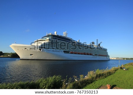 Velsen, The Netherlands -August, 6th 2016: Celebrity Silhouette is a Solstice-class cruise ship, owned and operated by Celebrity Cruises, built by Meyer Werft, Papenburg.