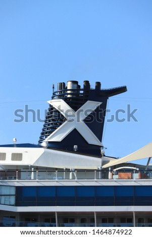 Velsen, The Netherlands - July 20th 2019 Celebrity Reflection operated by Celebrity Cruises on North Sea Canal, detail of funnel