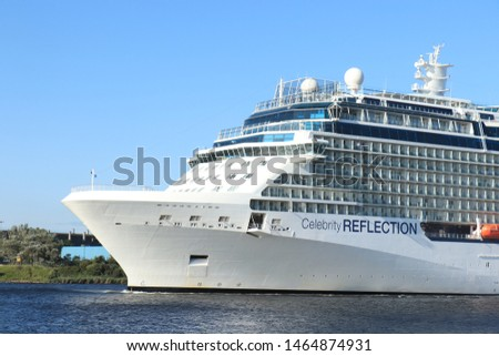 Velsen, The Netherlands - July 20th 2019 Celebrity Reflection operated by Celebrity Cruises on North Sea Canal