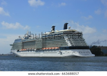 Velsen, The Netherlands - June 9th 2017: Celebrity Eclipse - Celebrity Cruises on North Sea Channel towards IJmuiden sea lock and North Sea