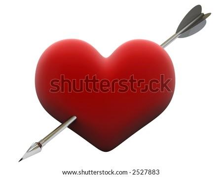 velvet heart pierced by steel cupid arrow - stock photo