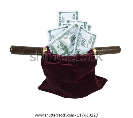 Velvet offering bag used in church for collecting tithing full of money - path included