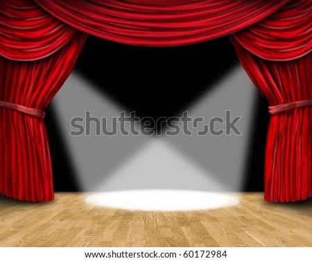 velvet red curtain frame on black background with spot lights