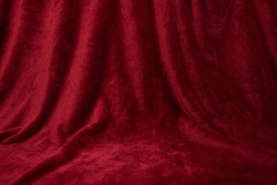 Velvet red draped curtain cloth full frame