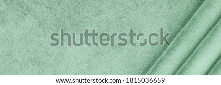 velvet texture mint color background banner. expensive luxury fabric, material,  wallpaper. copy space Foto stock ©