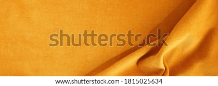 velvet texture orange fortuna gold color background banner, expensive luxury fabric, material,  wallpaper. copy space Zdjęcia stock ©