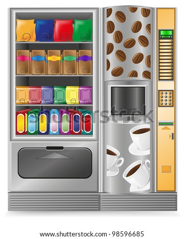 vending coffee and snack is a machine illustration