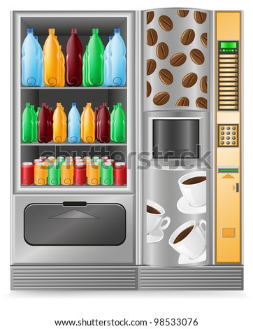 vending coffee and water is a machine illustration - stock photo