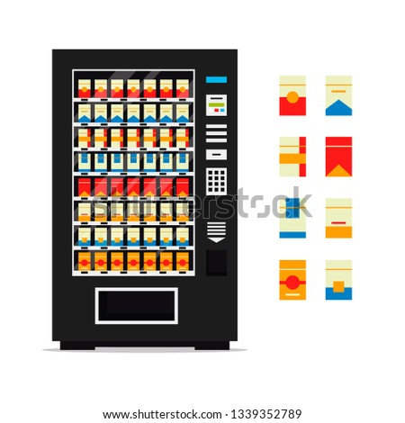 Vending machine with cigarettes isolated on white background. Vendor machine front view automatic seller, dispenser flat illustration