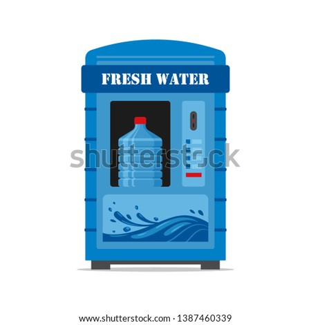 Vending machine with fresh water isolated on white background. Automat vendor machine front view automatic seller. Clean water dispenser flat illustration