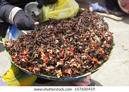 vendor fast food cambodia fried crickets with chilli at vietnam border