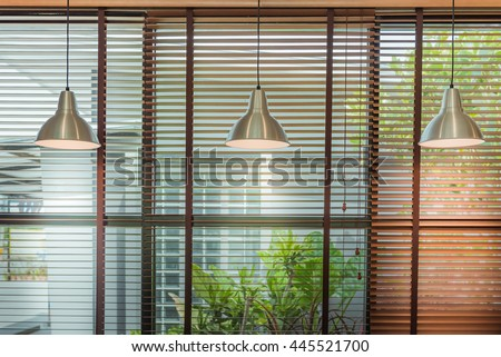 Venetian blind window mask, room interior with ceiling lamp beam, blinds window decoration concept for banner or background. #445521700