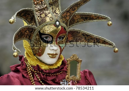 Venetian Carnival Mask - A portrait of one of the most beautiful masks photographed in open street during venetian carnival.