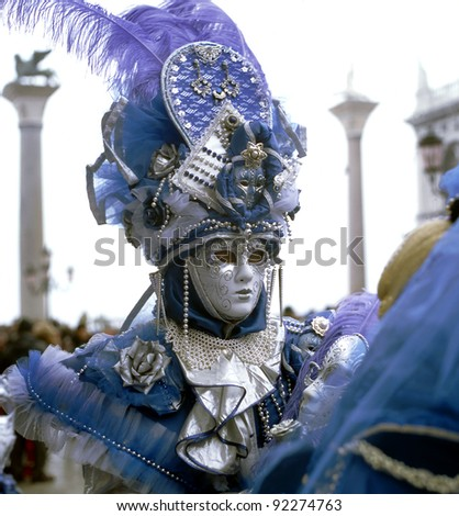 Venetian carnival masked costume, Italy