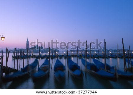 Venetian gondolas on Grand Canal -  Venice, Italy.