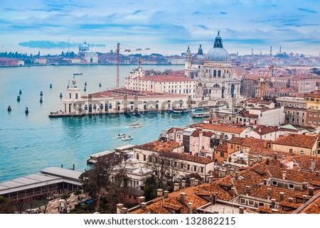 Venetian lagoon with ships. NIce aerial view