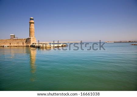 venetian lighthouse of rethimno in the island of crete, greece