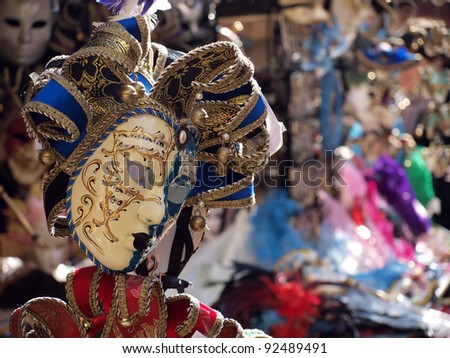 Venetian Mask Beautiful mask of the traditional Venice Carnival in a street vendor stall