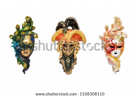 Venetian masks for carnival in Venice, Italy isolated on white background. Venice carnival mask