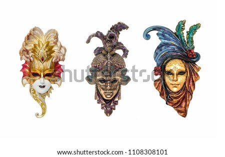 Venetian masks for carnival in Venice, Italy isolated on white background. Venice carnival masks - Shutterstock ID 1108308101