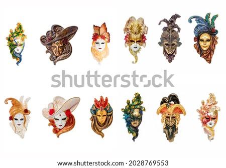 Venetian masks for carnival isolated. Venice mask set. Venetian masks of masquerade. Masquerade Venetian mask set