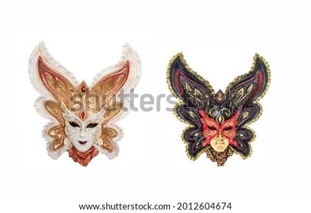 Venetian masks for masquerade isolated. Venetian carnival mask. Venice mask. Two venetian masks