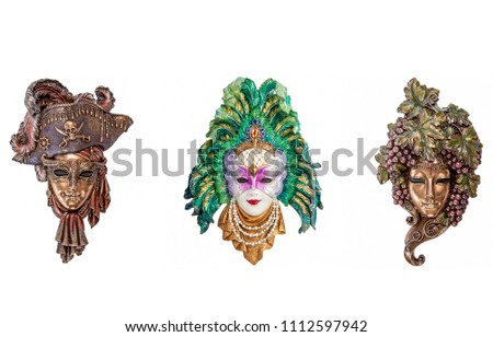 Venetian masquerade masks isolated on white. Venice masks for Venice carnival in Italy