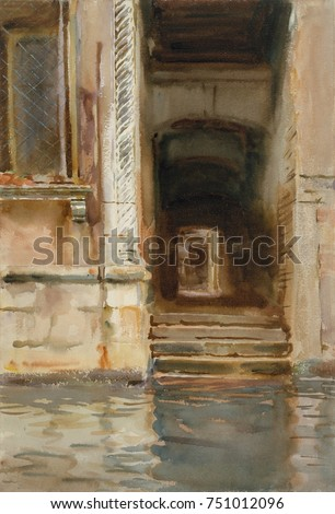 VENETIAN PASSAGEWAY, by John Singer Sargent, 1905, American watercolor painting. This simple composition of water and stone pull the viewer into the next street of the Venetian maze