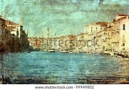 Venezia in retro vintage style, Vencie, Italy